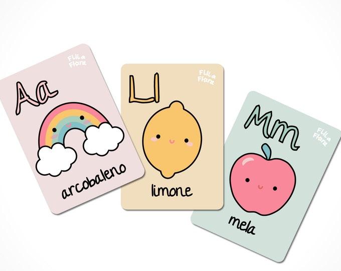 Italian Alphabet Flashcards for Children, Educational Gift