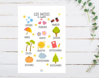 Spanish Months Print for Playroom for Children, A5 size, Educational Gift