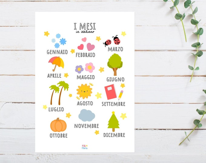 Italian Months of the Year Print for Playroom for Children, A5 size, Educational Gift