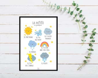 French Weather Print for Playroom for Children, A5 size, Educational Gift