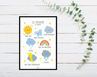 Spanish Weather Print for Playroom for Children, A5 size, Educational Gift