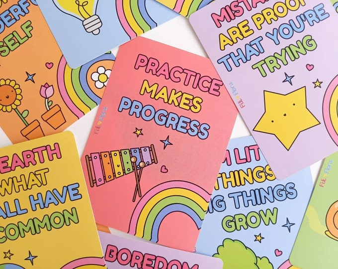 Featured listing image: Positivity Cards for Wellbeing, Self Esteem and Mental Health, Ideal gift for child
