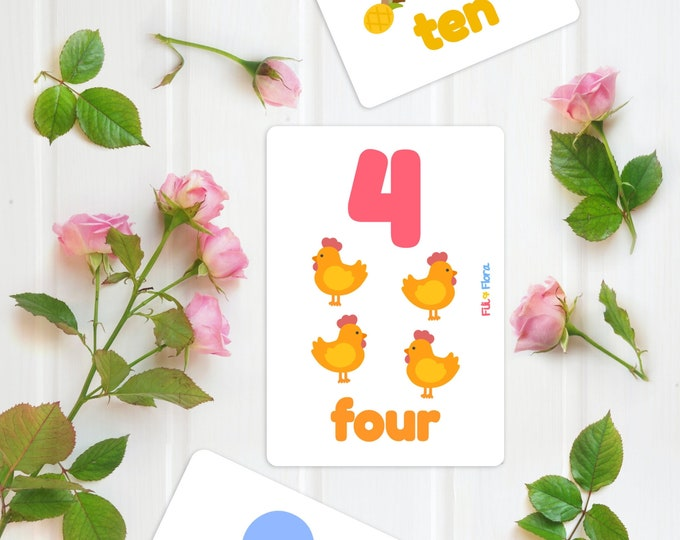 Counting Flashcards Numbers One to Ten 1-10 for Children, Educational Gift
