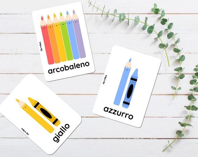 Italian Colours Flashcards for Children, Educational Gift