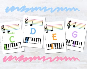 Music Theory Flash Cards, Treble Clef, C Major Scale, Educational Gift