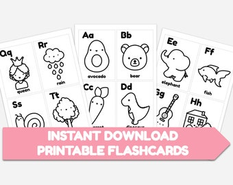 Alphabet Flashcards Colouring Sheets for Children, Learning Activity