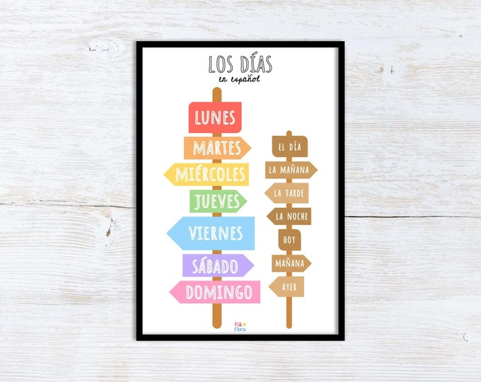 Spanish Days of the Week Print for Playroom for Children, A5 size, Educational Gift