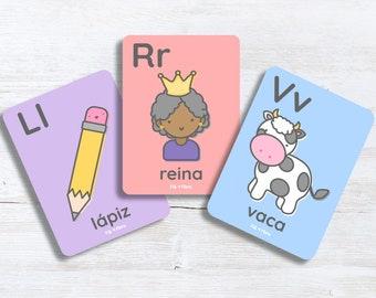 Spanish Alphabet Flashcards for Children, Educational Gift