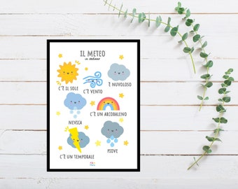 Italian Weather Print for Playroom for Children, A5 size, Educational Gift