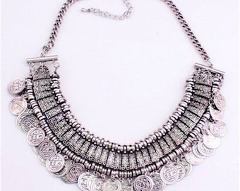 Turkish Bib Coin Statement Necklace - Silver