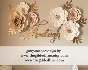 Gold laser cut name sign for baby room decoration