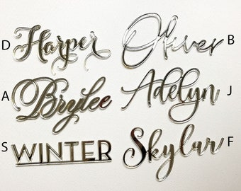 Silver Mirror Laser Cut Place Card Names for Wedding Party Table Seating