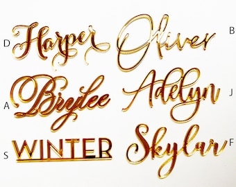 Gold Mirror Laser Cut Place Card Names for Wedding or Event Seating