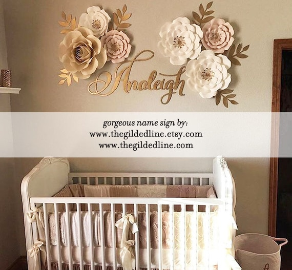 Gold Laser Cut Name Sign For Baby Room Decoration Etsy New Etsy Baby Room