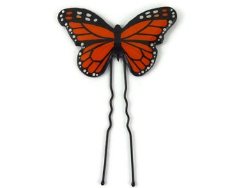 Orange and black Monarch butterfly bun pin, eco-friendly butterfly hair pin, eco-responsible painted plastic hair accessory (recycled CD)