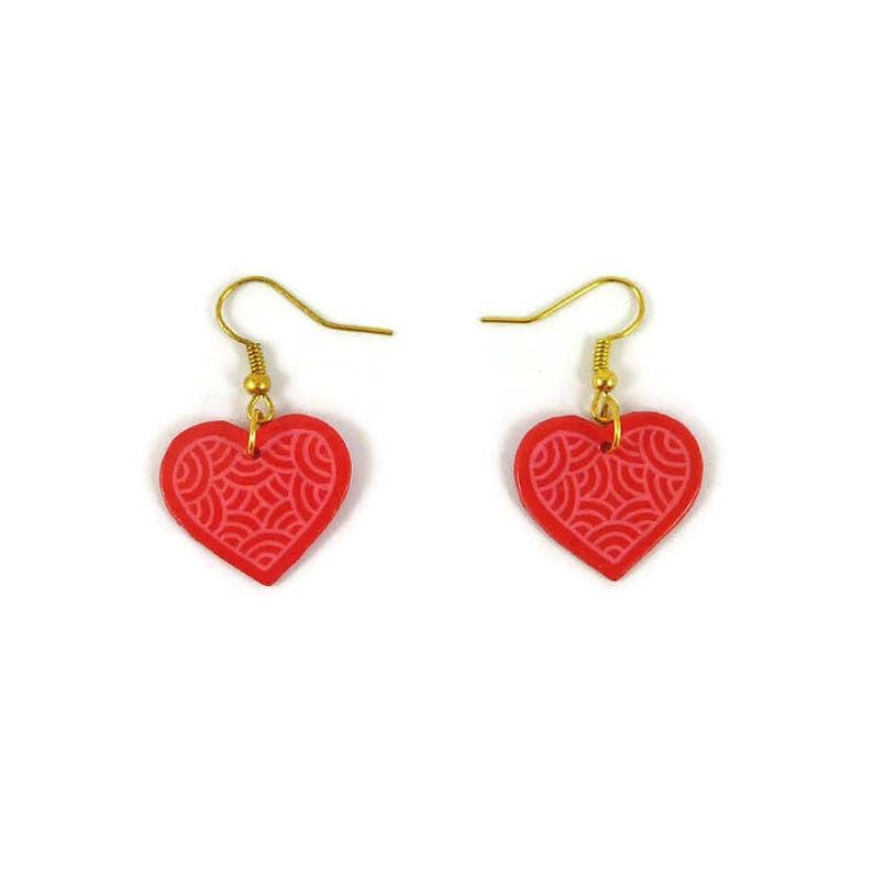 Rapsberry pink hearts earrings with candy pink doodles image 0