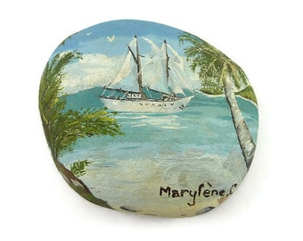 Sailboat in the tropics  painted stone, blue and white painted pebble, unique art object, ooak, original gift idea