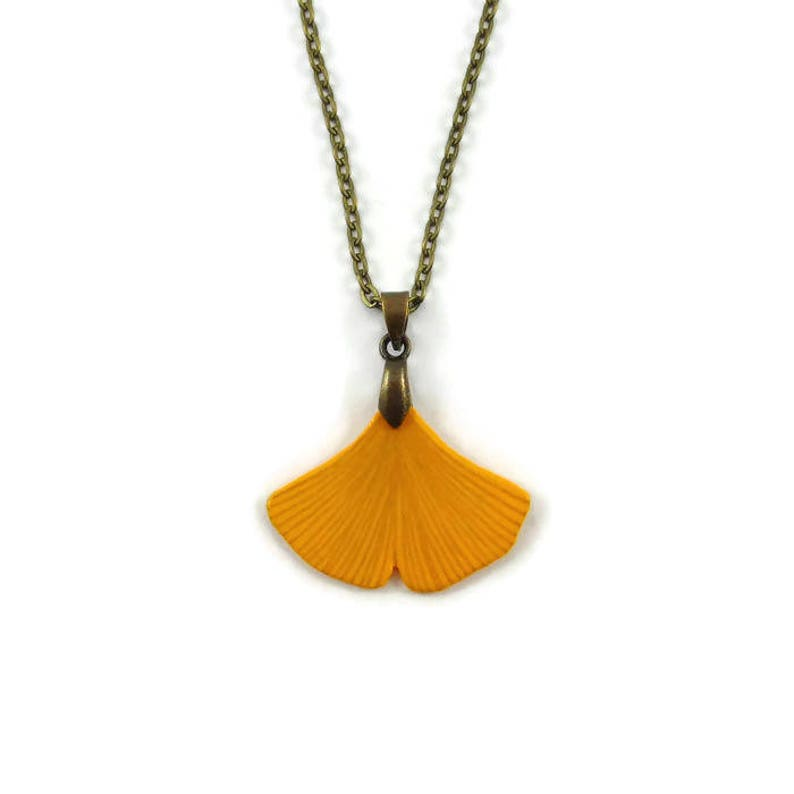 Yellow ginkgo biloba leaf necklace woodland necklace rustic image 0