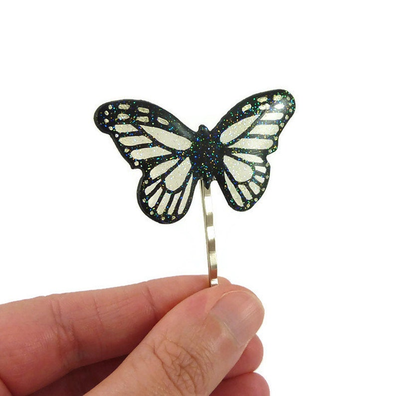 2e4f57ec1 Transparent and black glittery butterfly bobby pin fairytale | Etsy