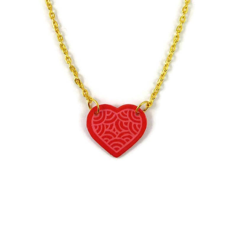 Hot pink heart necklace with candy pink doodles eco-friendly image 0