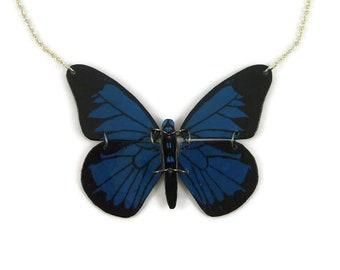 Dark blue and black Papilio Ulysses butterfly necklace, eco friendly blue and black butterfly necklace, recycled plastic butterfly necklace