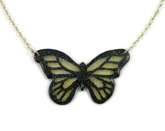 Small transparent and black butterfly necklace with glitters, fairy painted plastic necklace, handmade necklace made with recycled CD