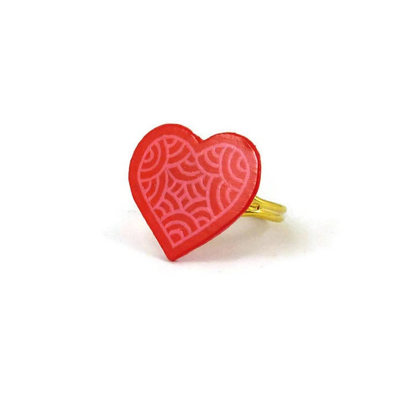 Hot pink heart ring with candy pink doodles romantic heart image 0