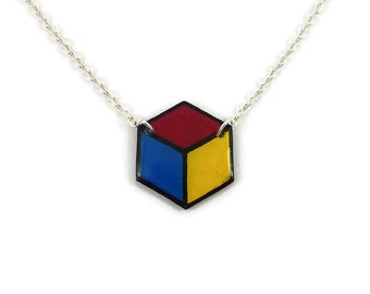 Blue pink and yellow hexagon necklace, geometric hexagonal necklace, pansexuality pride, graphic painted plastic necklace (recycled CD)