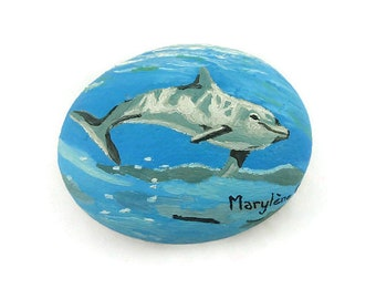 Dolphin swimming in the ocean painted stone, blue painted pebble, unique art object, ooak, original gift idea