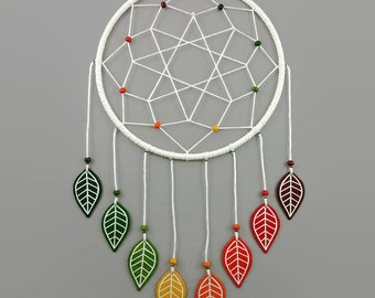 White dreamcatcher with fall leaves, modern dreamcatcher with autumn colors, gradient green yellow orange red brown fall wall decor