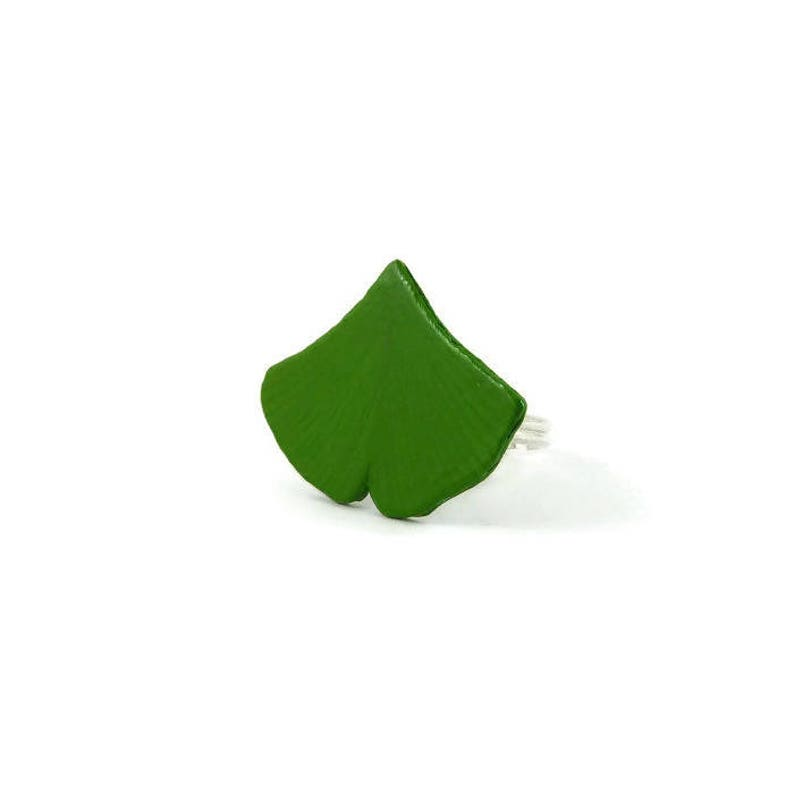 Green ginkgo leaf adjustable ring woodland ring rustic ring image 0