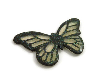 Transparent and black glittery butterfly magnet, pixie magnet, fairytale eco-friendly painted plastic home decor (recycled CD)