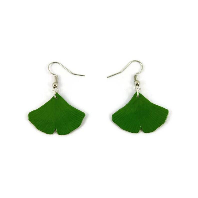 Green ginkgo biloba leaves dangle earrings eco-friendly image 0