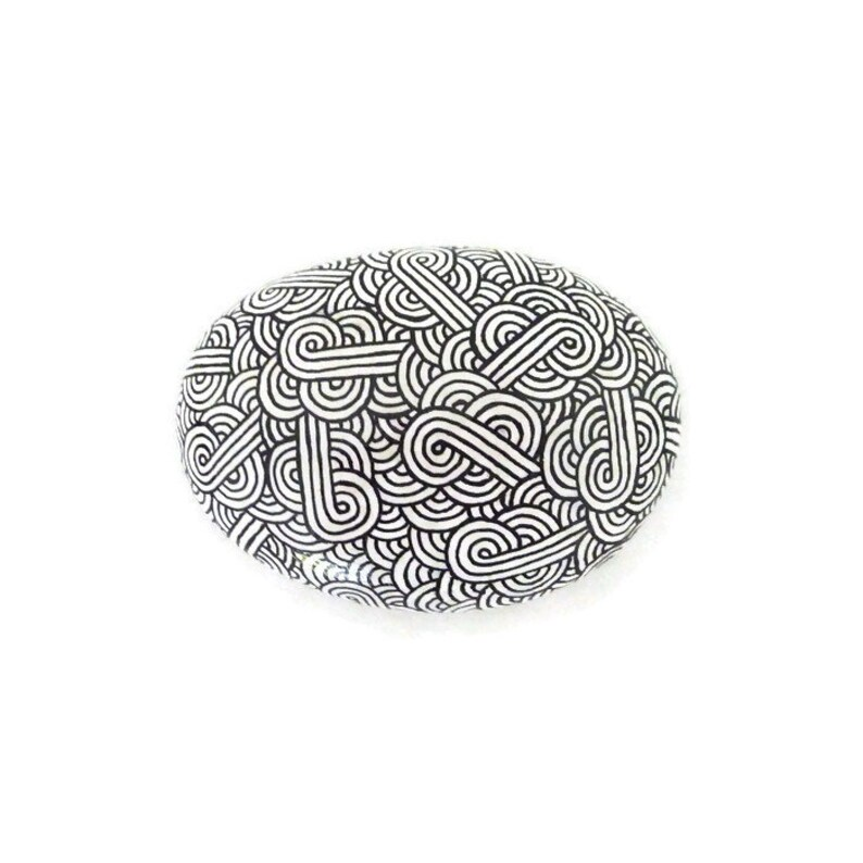 White decorative painted stone with black zentangle black and image 0