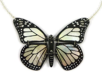 Iridescent and black Monarch butterfly necklace, eco friendly silver and black butterfly necklace, plastic butterfly necklace (recycled CD)