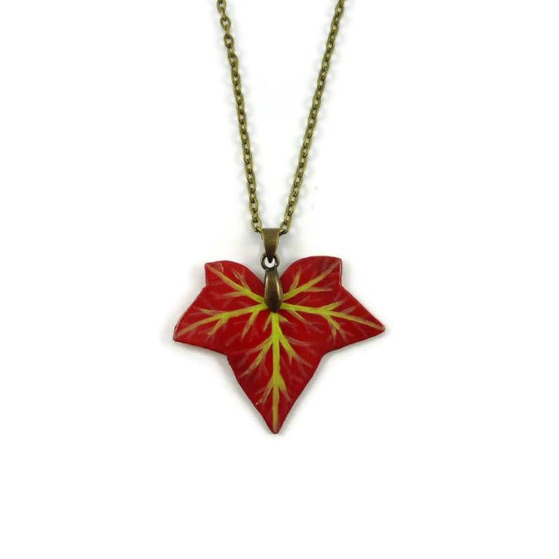 Burgundy red ivy leaf necklace woodland necklace autumn image 0