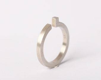 minimal silver engagement ring architecture jewelry in geometric design a ring for valentines day