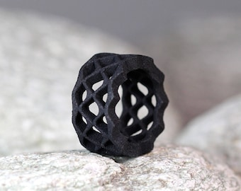 Black Wave Ring, Geometric Jewelry, Statement Ring Black, Architectural Ring, Contemporary Jewelry, Modern Jewelry, Large Ring Black
