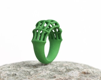 Bamboo Ring Green, Geometric Ring, Structural Ring Green, Gift for Women, Green Statement Ring, Contemporary Ring, Minimalist Ring