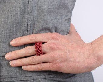 Large ring red a statement jewelry in modern design a gift for her