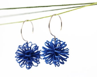 large dangle earrings blue with sterling silver hooks colorful jewelry as a unique gift for her, statement earrings