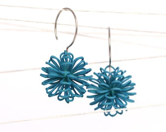 statement earrings green with sterling silver, lightweight pom pom earrings made of 3D printed nylon in contemporary design
