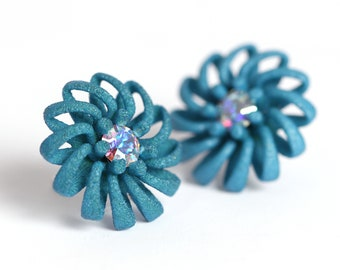 Green stud earrings with crystal large flower statement jewelry in modern design as a Gift for her