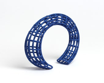 large cuff bracelet in blue a parametric design jewelry as a gift for her
