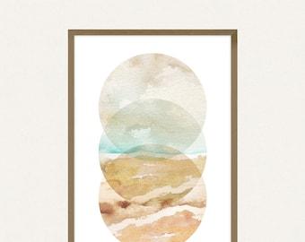 24x36 Poster Size Abstract Beach Circles Printable Art