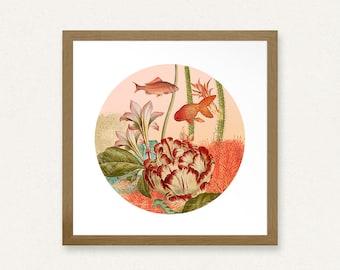 12x12 Botanical Fishbowl Collage - Printable Art