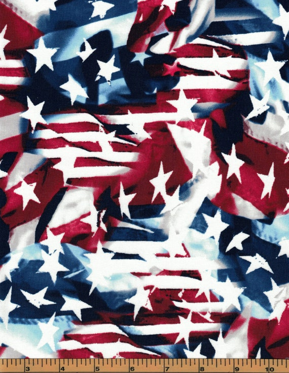 Patriotic Prints by Galaxy Fabrics for Maywood Studio Americana Patriotic White and Blue Red Tossed Flags Stars