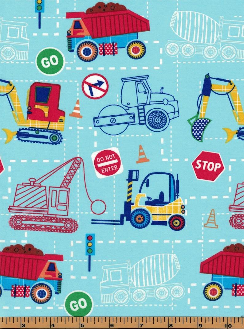 Let/'s Build Construction Bulldozer Dump Cemet Trucks on Blue BY YARDS Fabric