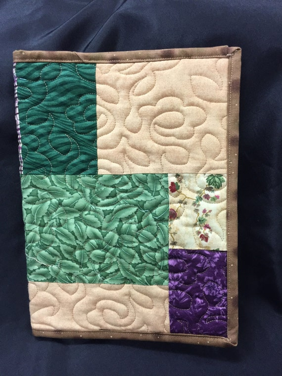 Reusable Fabric Book Cover : Floral fabric reusable book cover multi colored quilted etsy
