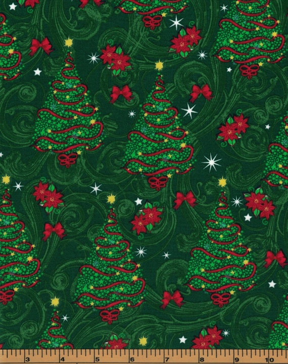 """1 x FQ Cotton Fabric 22/""""x 18/'/' Quilting Xmas Craft Christmas Red Trees"""